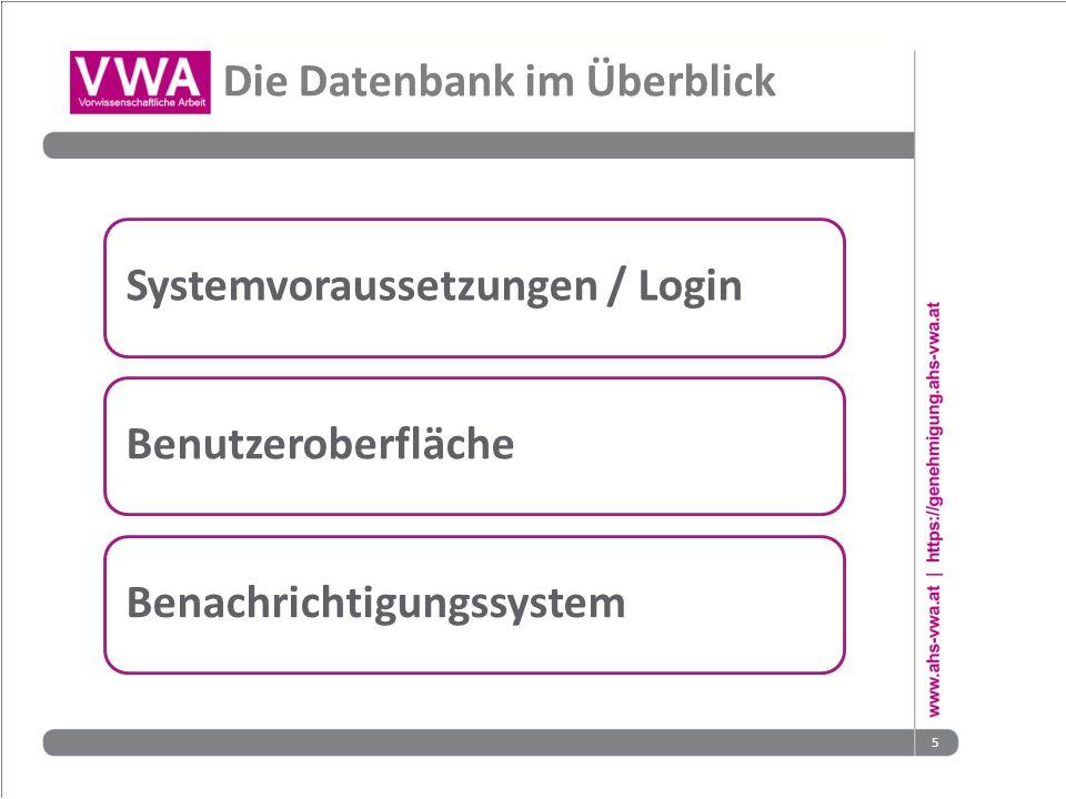 5 Die Datenbank im Überblick Systemvoraussetzungen / LoginBenutzeroberflächeBenachrichtigungssystem
