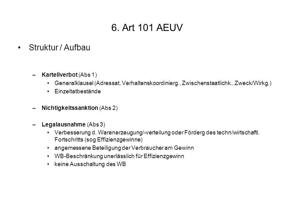 6. Art 101 AEUV Struktur / Aufbau –Kartellverbot (Abs 1) Generalklausel (Adressat, Verhaltenskoordinierg., Zwischenstaatlichk., Zweck/Wirkg.) Einzelta