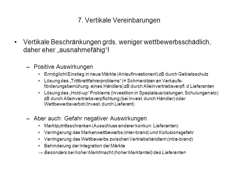 """7. Vertikale Vereinbarungen Vertikale Beschränkungen grds. weniger wettbewerbsschädlich, daher eher """"ausnahmefähig""""! –Positive Auswirkungen Ermöglicht"""