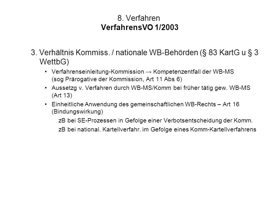 8. Verfahren VerfahrensVO 1/2003 3. Verhältnis Kommiss. / nationale WB-Behörden (§ 83 KartG u § 3 WettbG) Verfahrenseinleitung-Kommission → Kompetenze