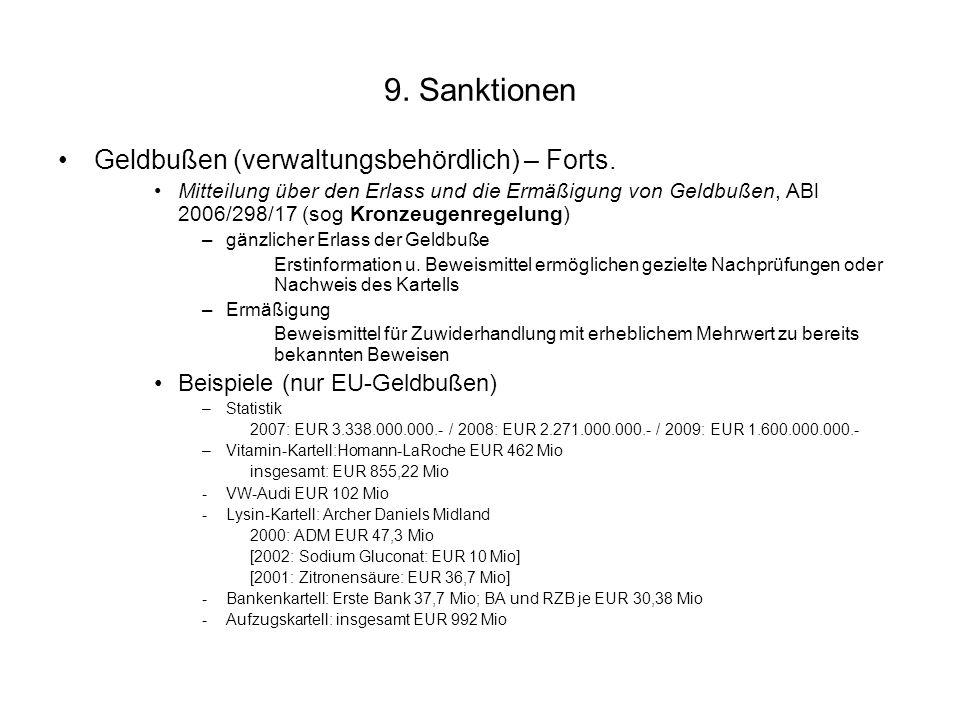 9. Sanktionen Geldbußen (verwaltungsbehördlich) – Forts. Mitteilung über den Erlass und die Ermäßigung von Geldbußen, ABl 2006/298/17 (sog Kronzeugenr