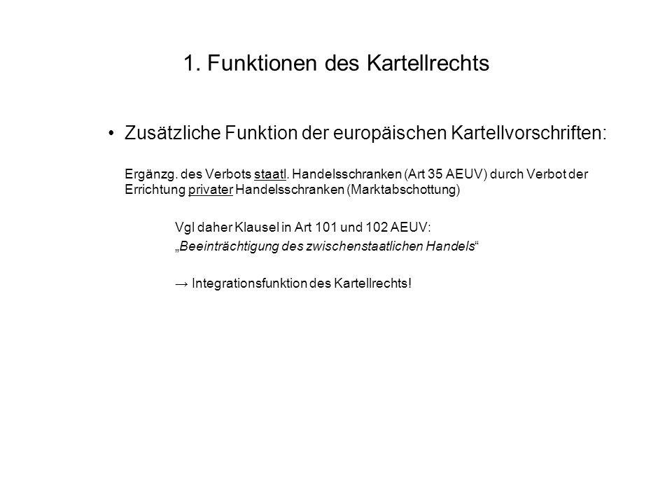 1. Funktionen des Kartellrechts Zusätzliche Funktion der europäischen Kartellvorschriften: Ergänzg. des Verbots staatl. Handelsschranken (Art 35 AEUV)