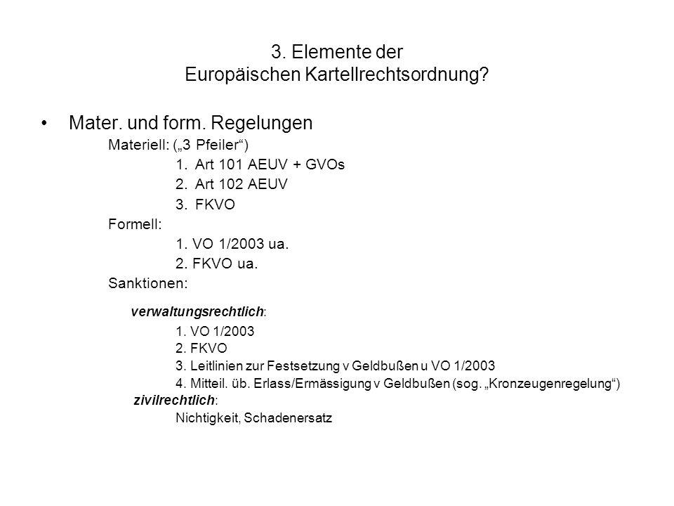 """3. Elemente der Europäischen Kartellrechtsordnung? Mater. und form. Regelungen Materiell: (""""3 Pfeiler"""") 1.Art 101 AEUV + GVOs 2.Art 102 AEUV 3.FKVO Fo"""