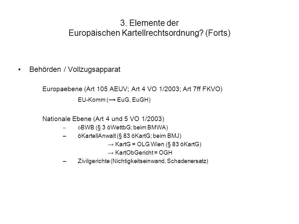 3. Elemente der Europäischen Kartellrechtsordnung? (Forts) Behörden / Vollzugsapparat Europaebene (Art 105 AEUV; Art 4 VO 1/2003; Art 7ff FKVO) EU-Kom