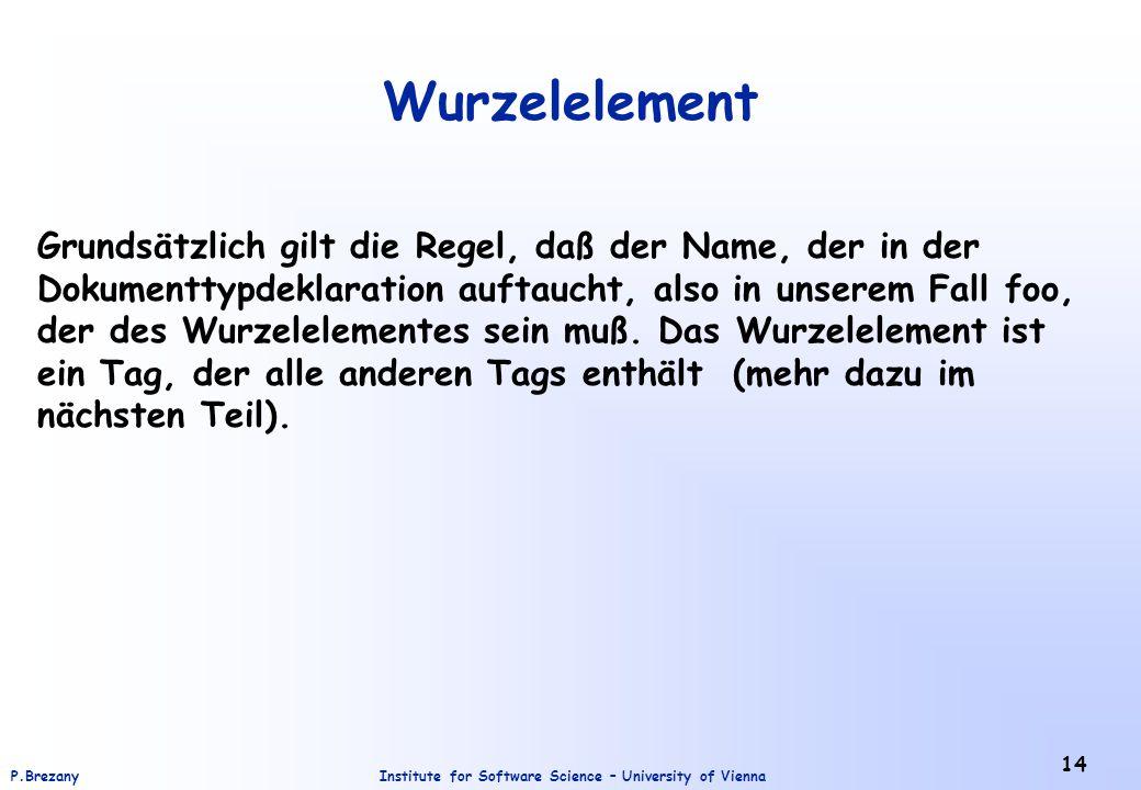 Institute for Software Science – University of ViennaP.Brezany 14 Wurzelelement Grundsätzlich gilt die Regel, daß der Name, der in der Dokumenttypdekl