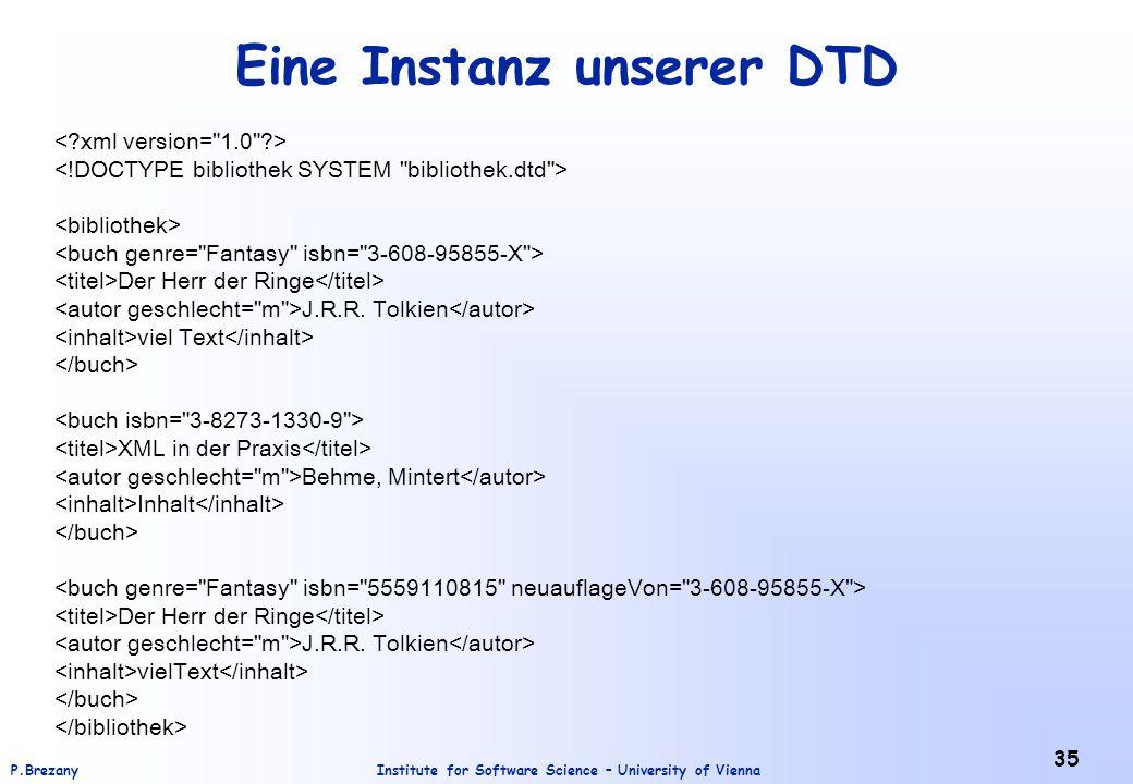 Institute for Software Science – University of ViennaP.Brezany 35 Eine Instanz unserer DTD Der Herr der Ringe J.R.R. Tolkien viel Text XML in der Prax