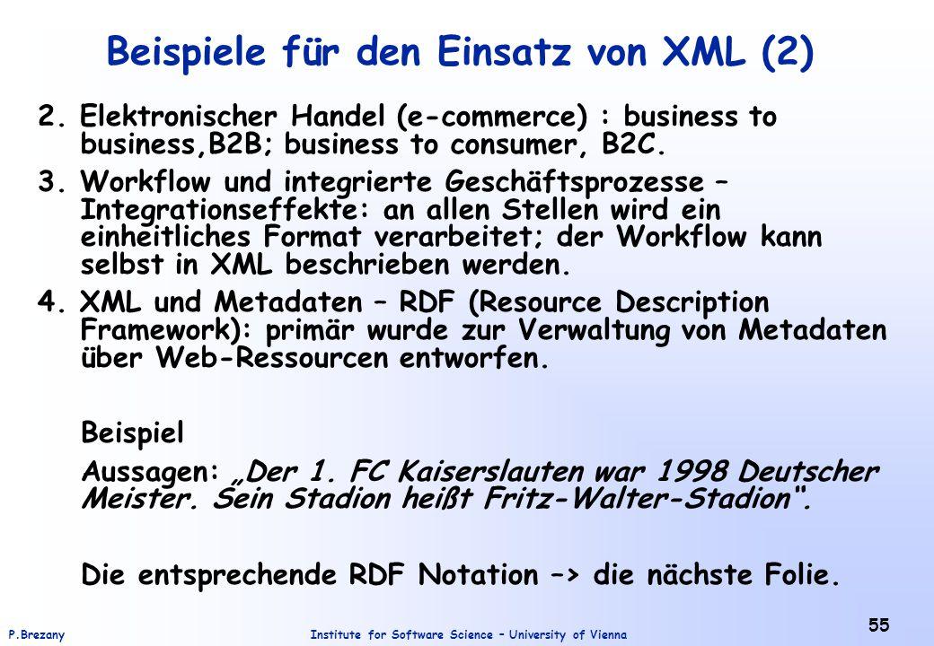 Institute for Software Science – University of ViennaP.Brezany 55 Beispiele für den Einsatz von XML (2) 2. Elektronischer Handel (e-commerce) : busine