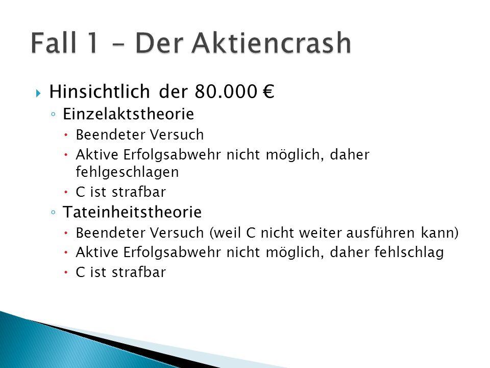  Hinsichtlich der 80.000 € ◦ Einzelaktstheorie  Beendeter Versuch  Aktive Erfolgsabwehr nicht möglich, daher fehlgeschlagen  C ist strafbar ◦ Tate