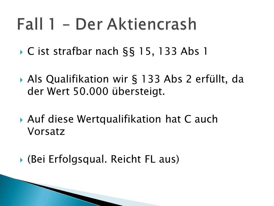  C ist strafbar nach §§ 15, 133 Abs 1  Als Qualifikation wir § 133 Abs 2 erfüllt, da der Wert 50.000 übersteigt.  Auf diese Wertqualifikation hat C