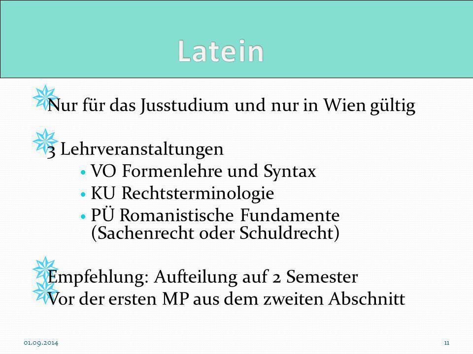  Nur für das Jusstudium und nur in Wien gültig  3 Lehrveranstaltungen VO Formenlehre und Syntax KU Rechtsterminologie PÜ Romanistische Fundamente (S