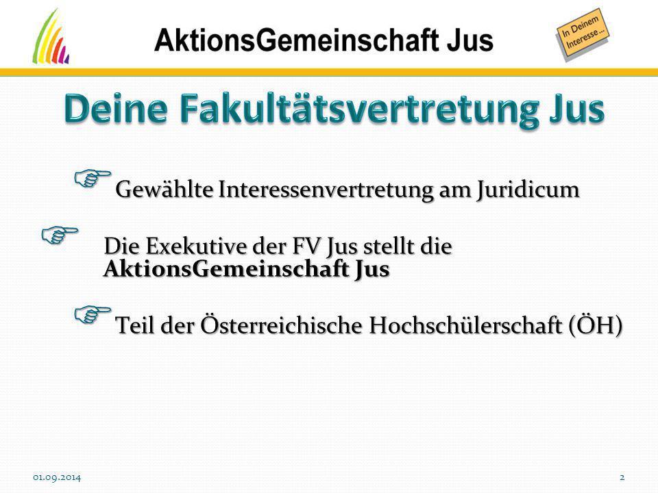  Gewählte Interessenvertretung am Juridicum  Die Exekutive der FV Jus stellt die AktionsGemeinschaft Jus  Teil der Österreichische Hochschülerschaf
