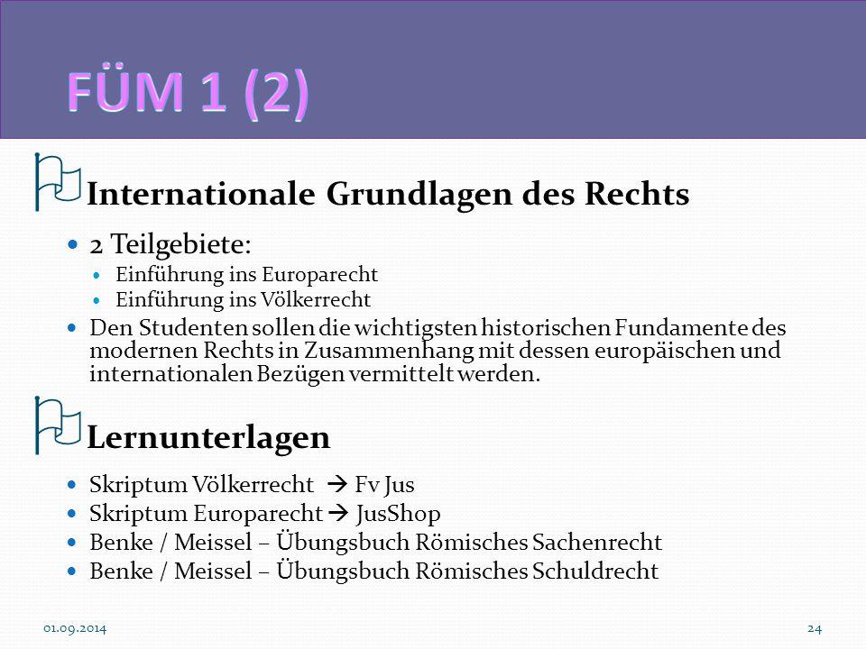  Internationale Grundlagen des Rechts 2 Teilgebiete: Einführung ins Europarecht Einführung ins Völkerrecht Den Studenten sollen die wichtigsten historischen Fundamente des modernen Rechts in Zusammenhang mit dessen europäischen und internationalen Bezügen vermittelt werden.