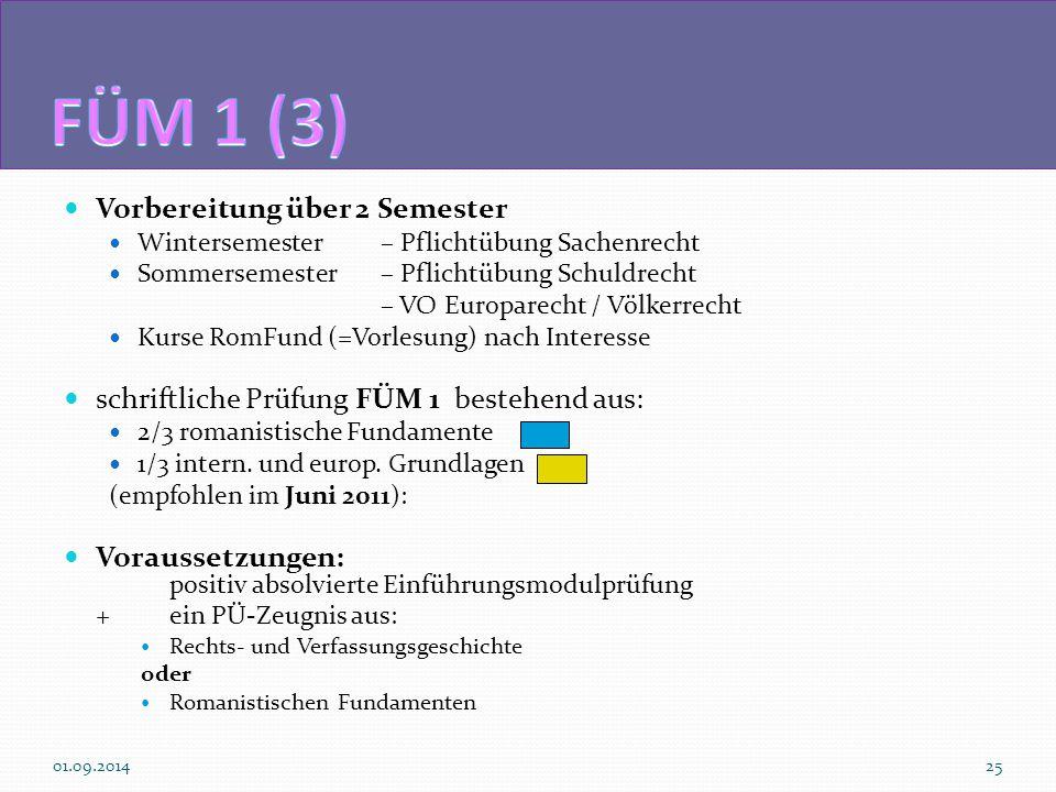 Vorbereitung über 2 Semester Wintersemester– Pflichtübung Sachenrecht Sommersemester – Pflichtübung Schuldrecht – VO Europarecht / Völkerrecht Kurse R