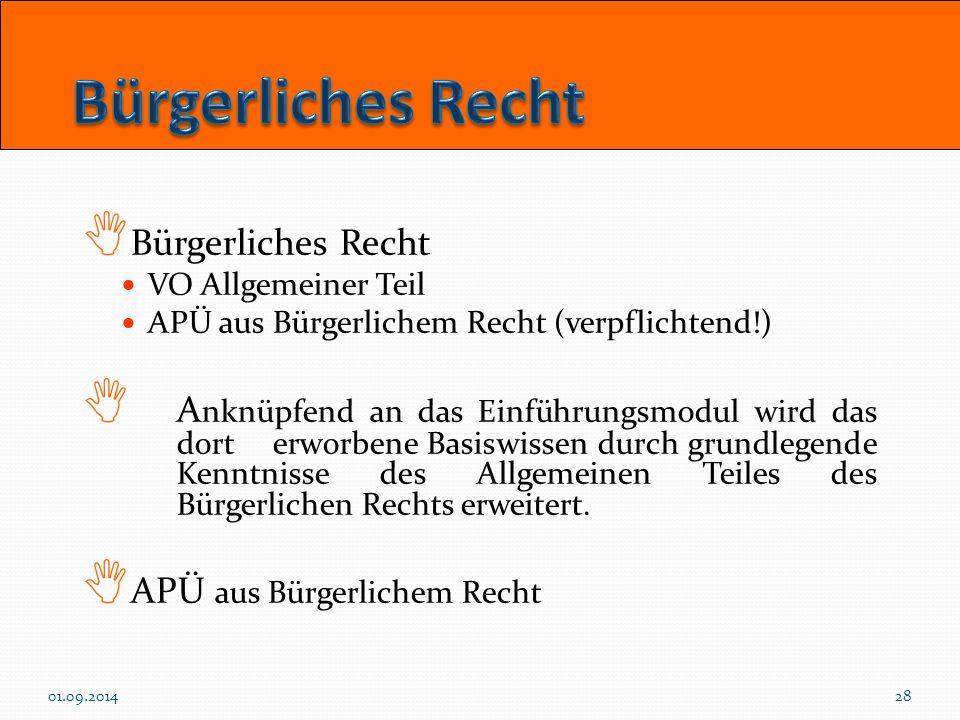  Bürgerliches Recht VO Allgemeiner Teil APÜ aus Bürgerlichem Recht (verpflichtend!)  A nknüpfend an das Einführungsmodul wird das dort erworbene Bas