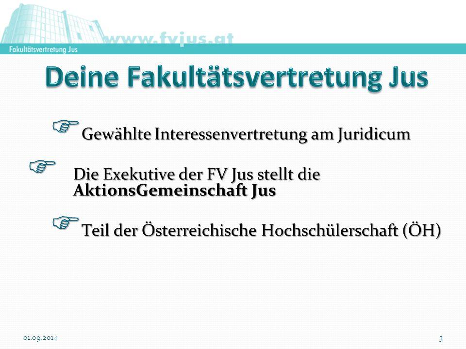  Gewählte Interessenvertretung am Juridicum  Die Exekutive der FV Jus stellt die AktionsGemeinschaft Jus  Teil der Österreichische Hochschülerschaft (ÖH) 01.09.20143