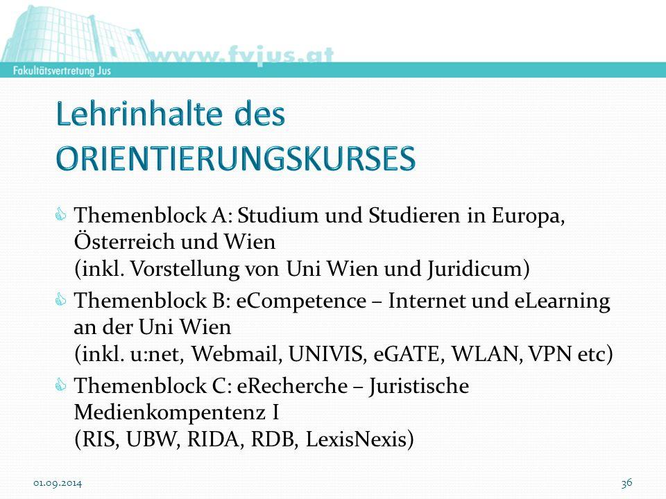  Themenblock A: Studium und Studieren in Europa, Österreich und Wien (inkl. Vorstellung von Uni Wien und Juridicum)  Themenblock B: eCompetence – In