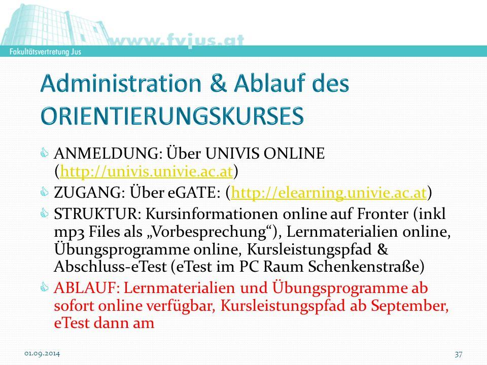 """ ANMELDUNG: Über UNIVIS ONLINE (http://univis.univie.ac.at)http://univis.univie.ac.at  ZUGANG: Über eGATE: (http://elearning.univie.ac.at)http://elearning.univie.ac.at  STRUKTUR: Kursinformationen online auf Fronter (inkl mp3 Files als """"Vorbesprechung ), Lernmaterialien online, Übungsprogramme online, Kursleistungspfad & Abschluss-eTest (eTest im PC Raum Schenkenstraße)  ABLAUF: Lernmaterialien und Übungsprogramme ab sofort online verfügbar, Kursleistungspfad ab September, eTest dann am 01.09.201437"""