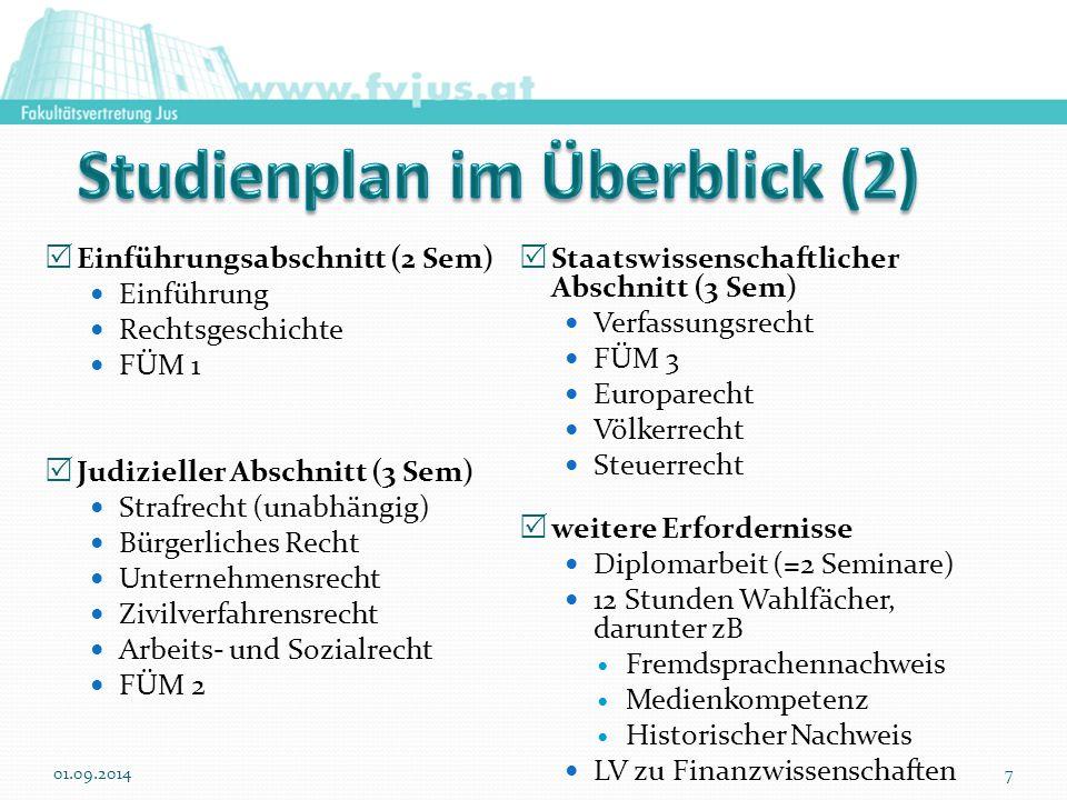 Einführungsabschnitt (2 Sem) Einführung Rechtsgeschichte FÜM 1  Judizieller Abschnitt (3 Sem) Strafrecht (unabhängig) Bürgerliches Recht Unternehme