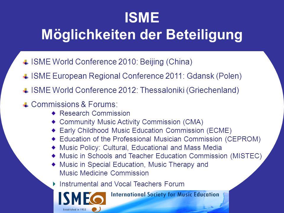 ISME Möglichkeiten der Beteiligung ISME World Conference 2010: Beijing (China) ISME European Regional Conference 2011: Gdansk (Polen) ISME World Confe