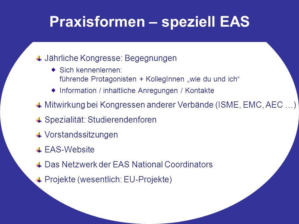 """Praxisformen – speziell EAS Jährliche Kongresse: Begegnungen Sich kennenlernen: führende Protagonisten + KollegInnen """"wie du und ich Information / inhaltliche Anregungen / Kontakte Mitwirkung bei Kongressen anderer Verbände (ISME, EMC, AEC …) Spezialität: Studierendenforen Vorstandssitzungen EAS-Website Das Netzwerk der EAS National Coordinators Projekte (wesentlich: EU-Projekte)"""