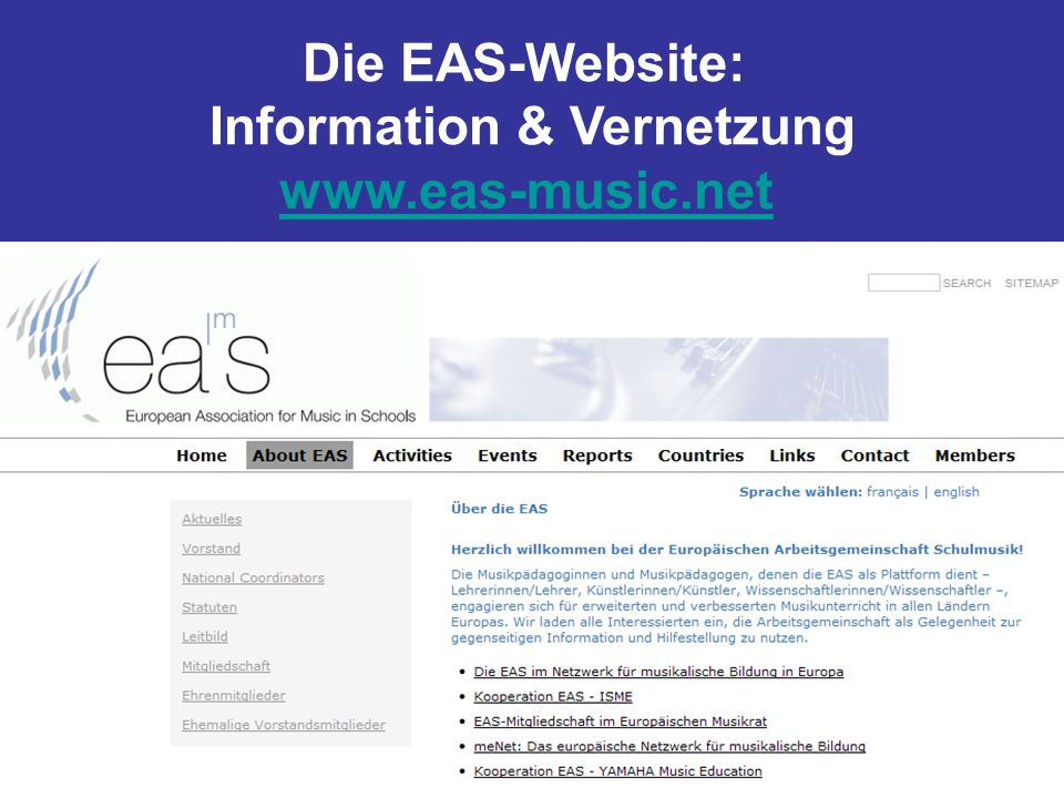Die EAS-Website: Information & Vernetzung www.eas-music.net