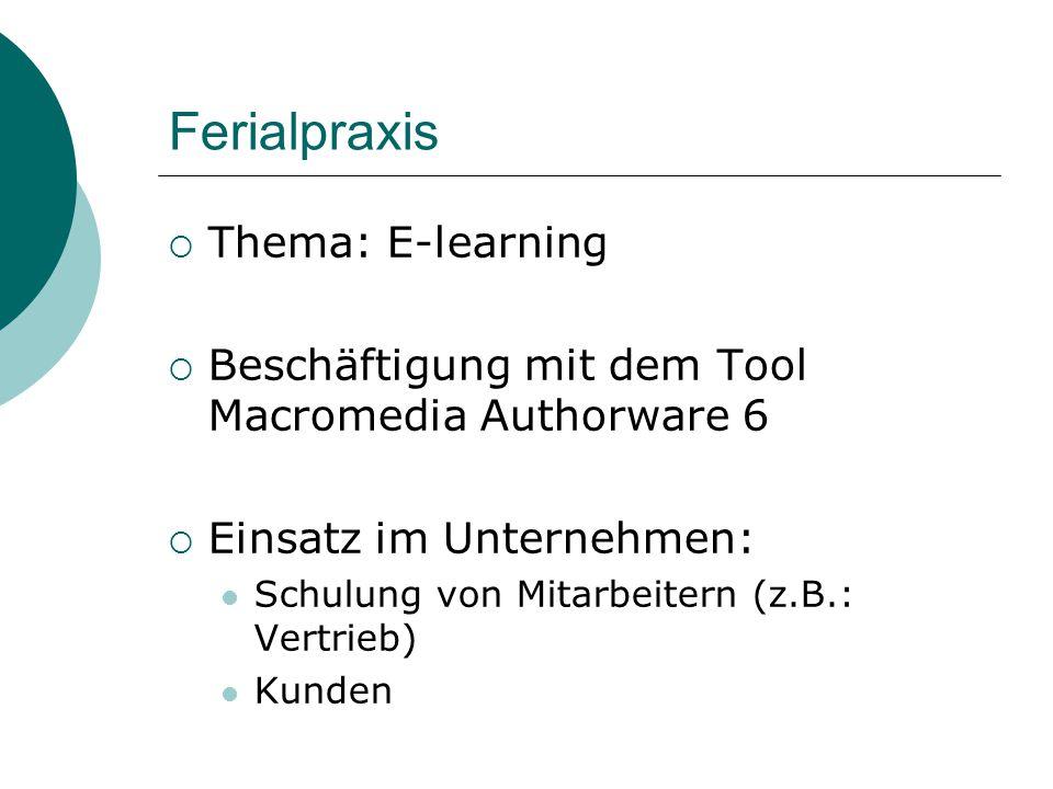 Ferialpraxis  Thema: E-learning  Beschäftigung mit dem Tool Macromedia Authorware 6  Einsatz im Unternehmen: Schulung von Mitarbeitern (z.B.: Vertr