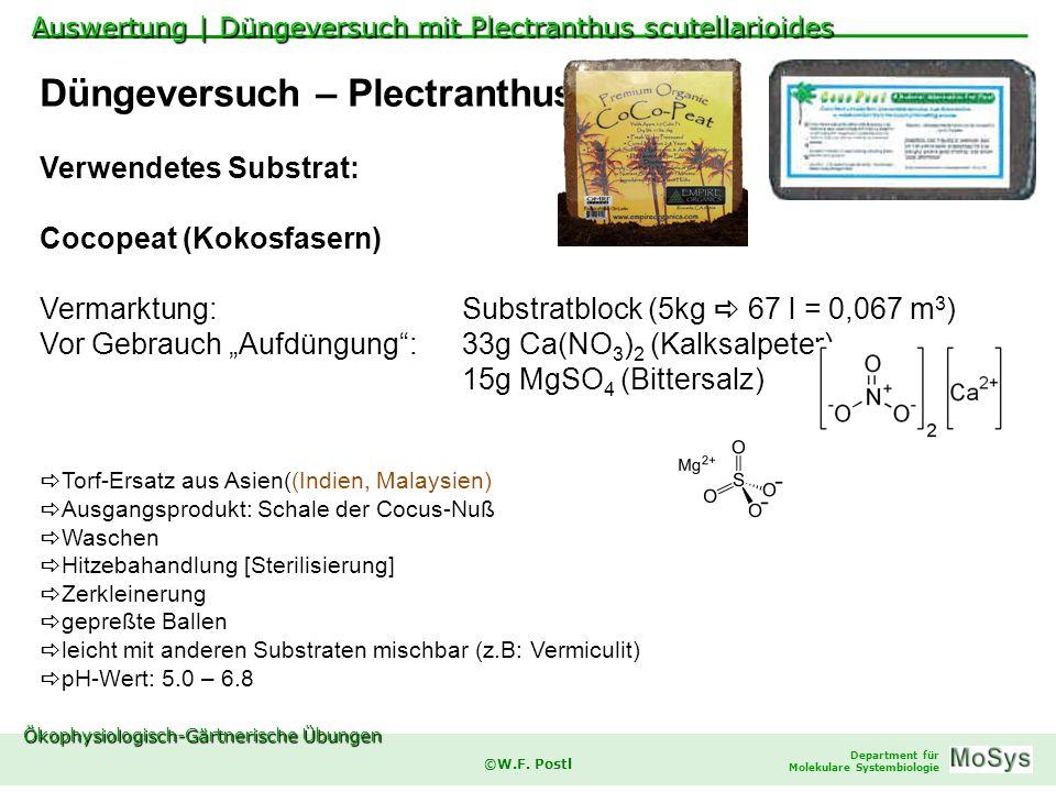 Ökophysiologisch-Gärtnerische Übungen Department für Molekulare Systembiologie ©W.F.