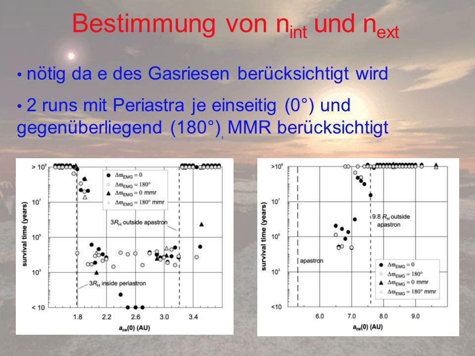 Bestimmung von n int und n ext nötig da e des Gasriesen berücksichtigt wird 2 runs mit Periastra je einseitig (0°) und gegenüberliegend (180°), MMR berücksichtigt