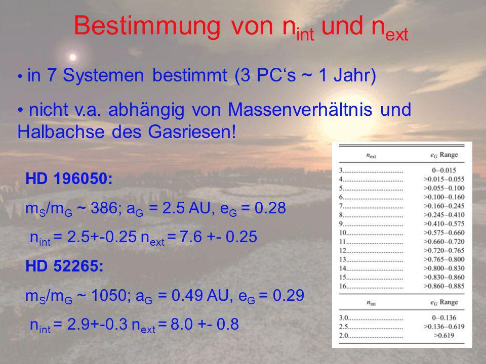 Bestimmung von n int und n ext in 7 Systemen bestimmt (3 PC's ~ 1 Jahr) nicht v.a.