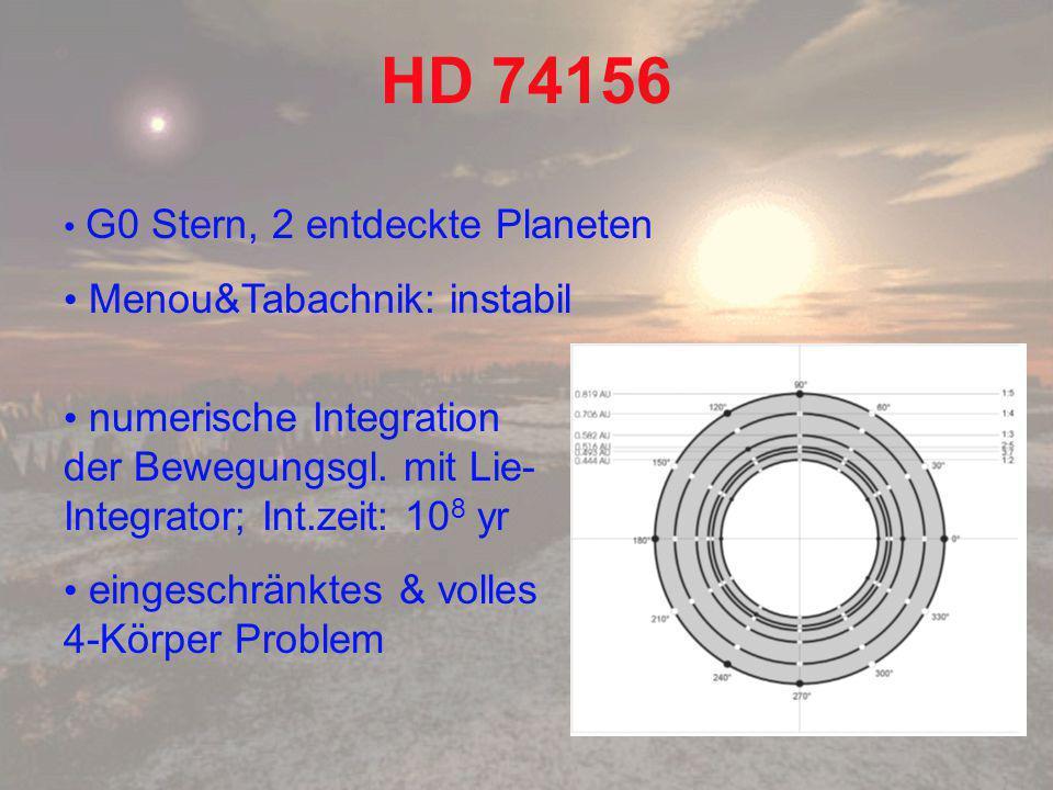 HD 74156 G0 Stern, 2 entdeckte Planeten Menou&Tabachnik: instabil numerische Integration der Bewegungsgl.