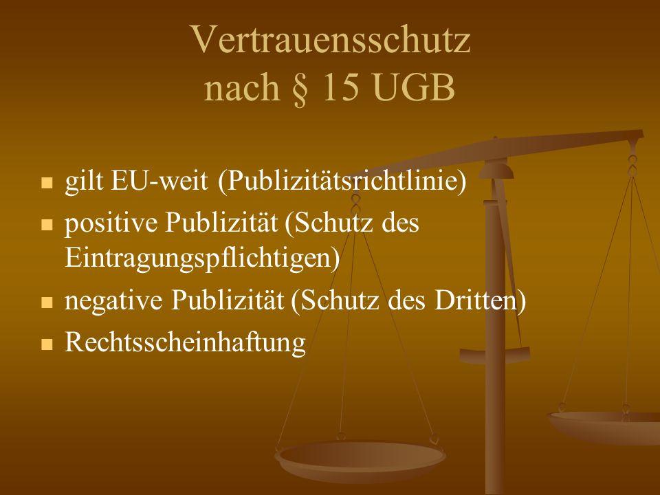 Vertrauensschutz nach § 15 UGB gilt EU-weit (Publizitätsrichtlinie) positive Publizität (Schutz des Eintragungspflichtigen) negative Publizität (Schutz des Dritten) Rechtsscheinhaftung