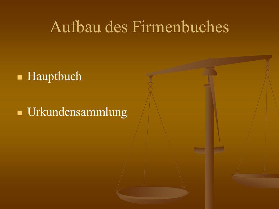 Aufbau des Firmenbuches Hauptbuch Urkundensammlung