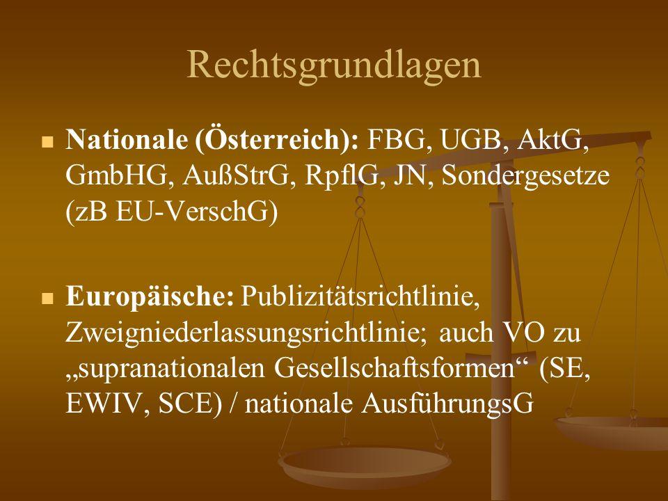 """Rechtsgrundlagen Nationale (Österreich): FBG, UGB, AktG, GmbHG, AußStrG, RpflG, JN, Sondergesetze (zB EU-VerschG) Europäische: Publizitätsrichtlinie, Zweigniederlassungsrichtlinie; auch VO zu """"supranationalen Gesellschaftsformen (SE, EWIV, SCE) / nationale AusführungsG"""