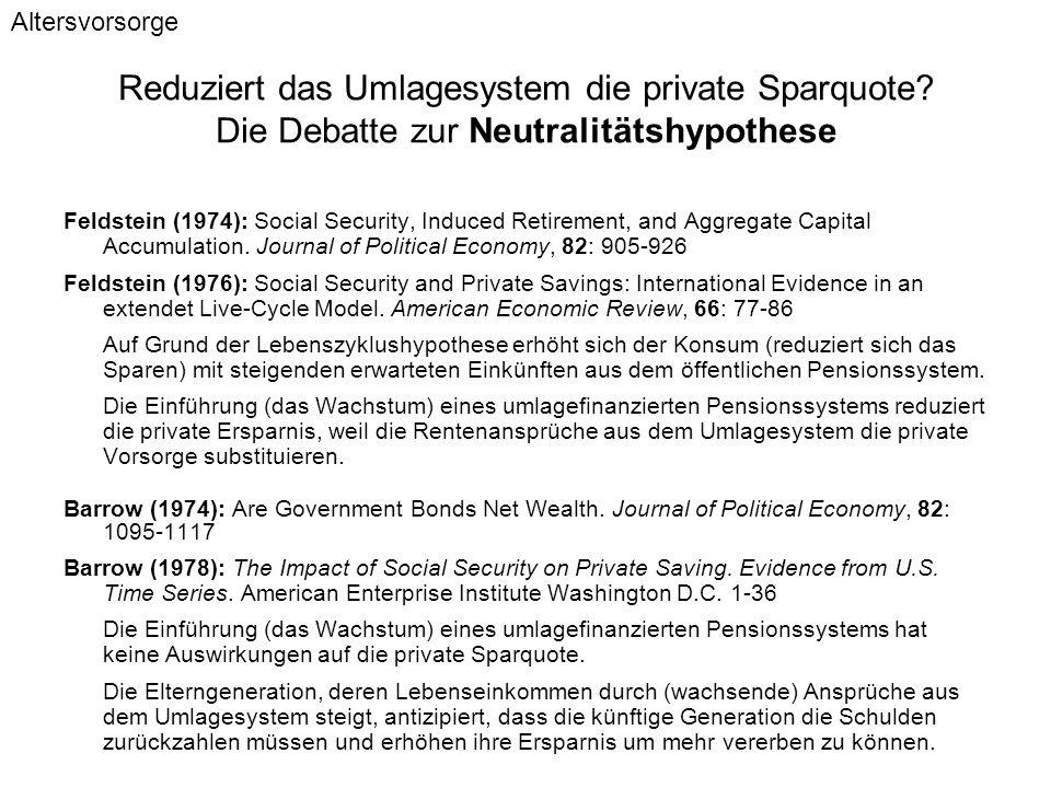 Reduziert das Umlagesystem die private Sparquote? Die Debatte zur Neutralitätshypothese Feldstein (1974): Social Security, Induced Retirement, and Agg