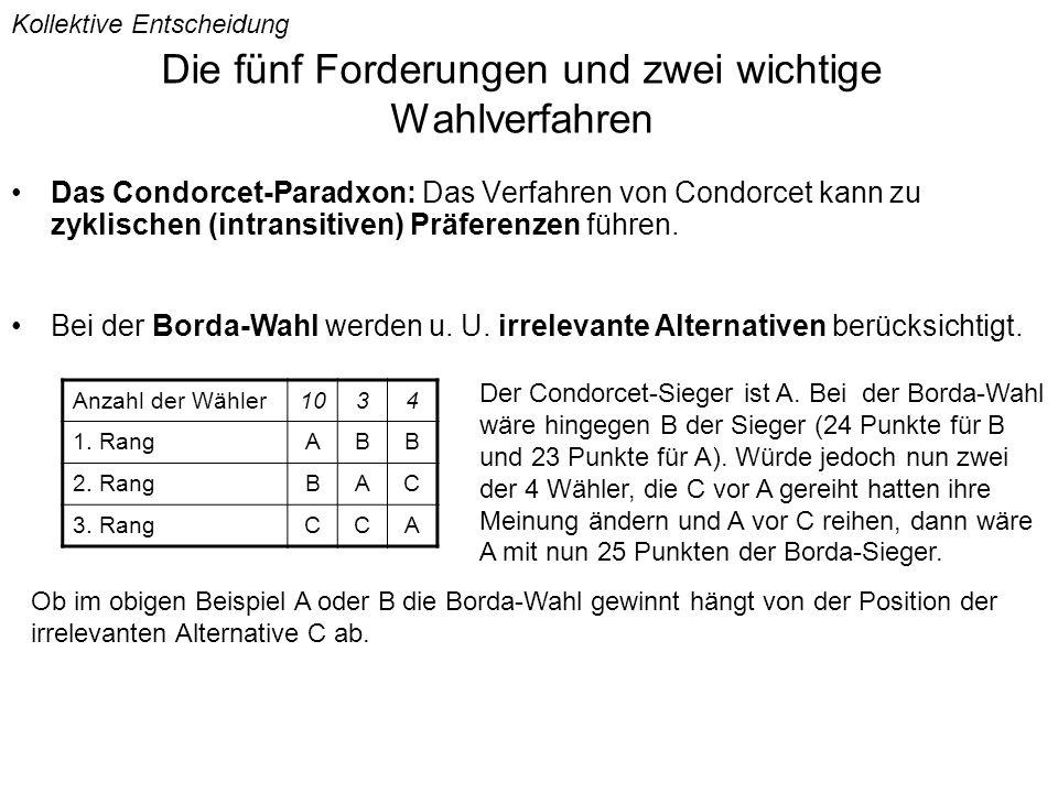 Die fünf Forderungen und zwei wichtige Wahlverfahren Das Condorcet-Paradxon: Das Verfahren von Condorcet kann zu zyklischen (intransitiven) Präferenzen führen.