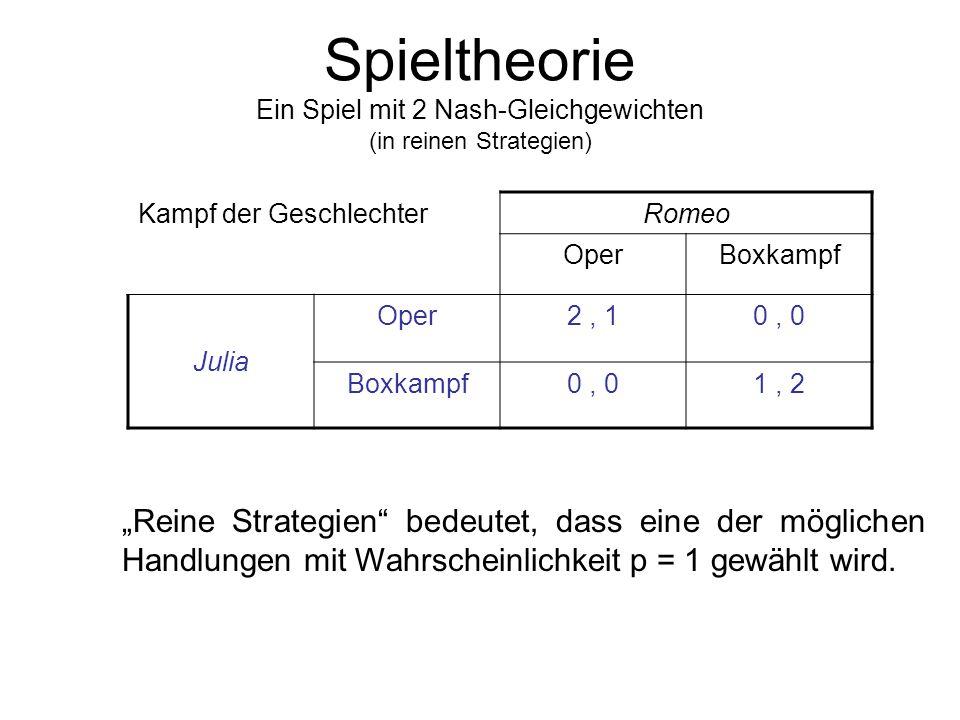 Spieltheorie Best response Im Spiel ist eine Strategie s i ' eine beste Antwort für Spieler i, wenn gilt: u i (s 1,..., s i-1, s i ', s i+1,..., s n )