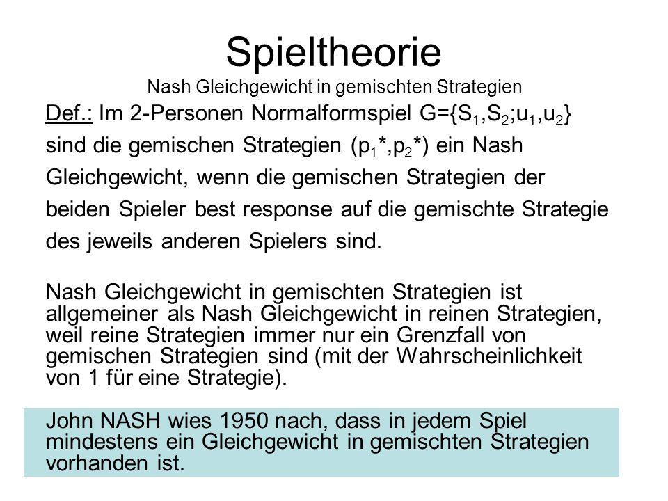 Spieler B Links (s 2 )Rechts (1-s 2 ) Spieler A Oben (s 1 ) 0000 0 Unten (1-s 1 ) 0101 3 Gemischte Strategie: zufällige Entscheidung über Strategien.