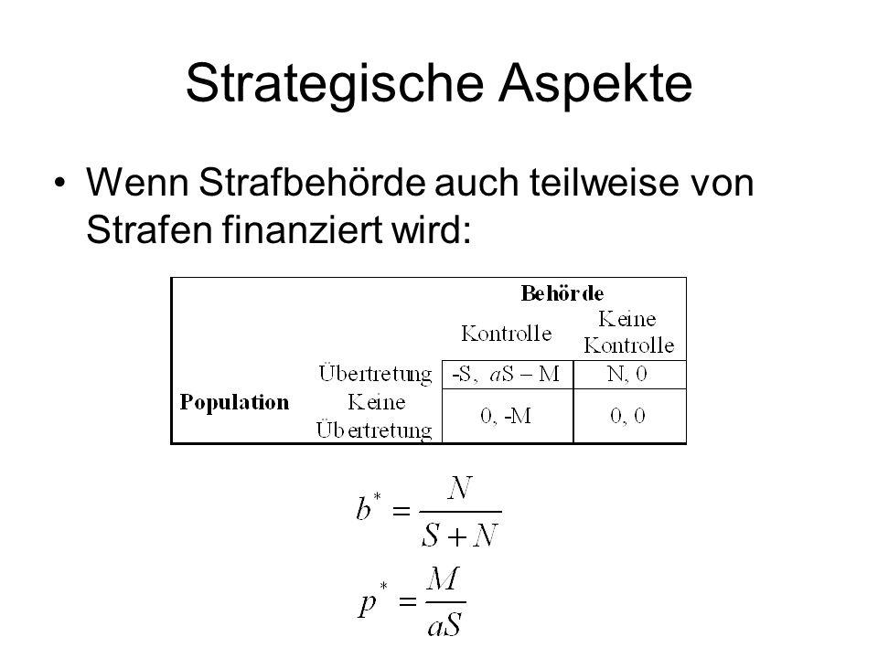 Probleme Beobachtbarkeit von p und s in der Bevölkerung? Anreizoptimalität vs. Gerechtigkeit und sozialer Unwert (siehe oben) Wiederholungstäter – str