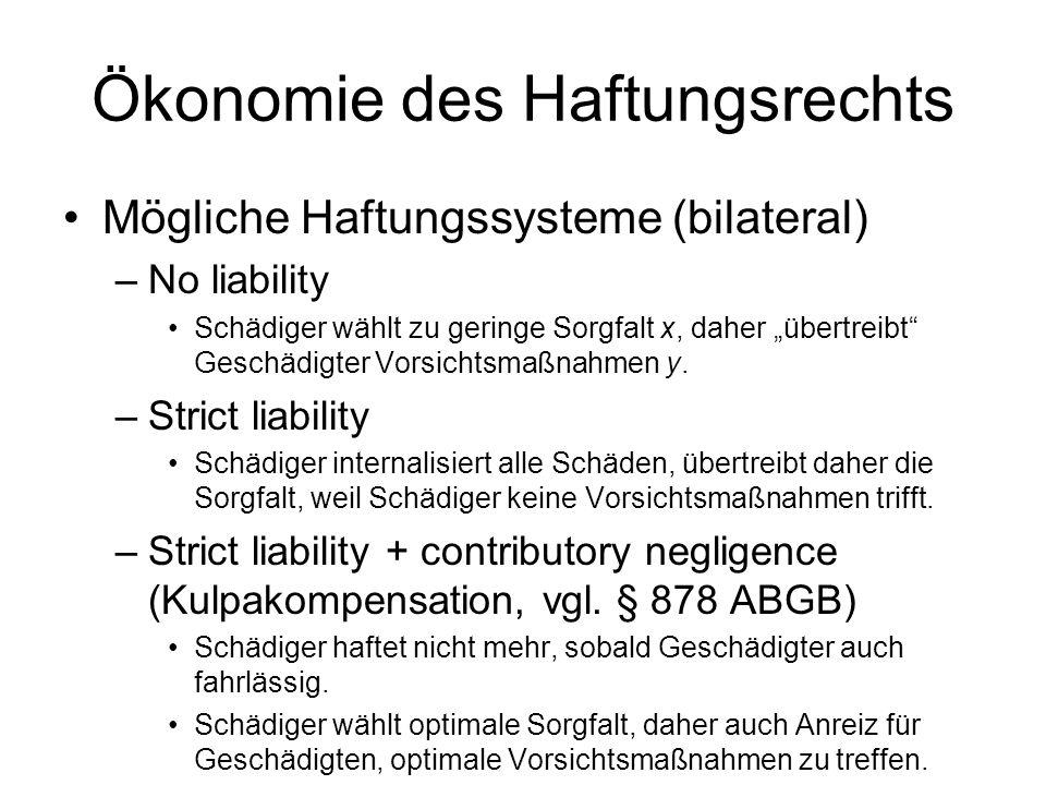 Ökonomie des Haftungsrechts Bilaterale Schäden (Erweiterung) –Das Verhalten beider Beteiligter entscheidet –Wähle Sorgfalten x und y, sodass Summe aus
