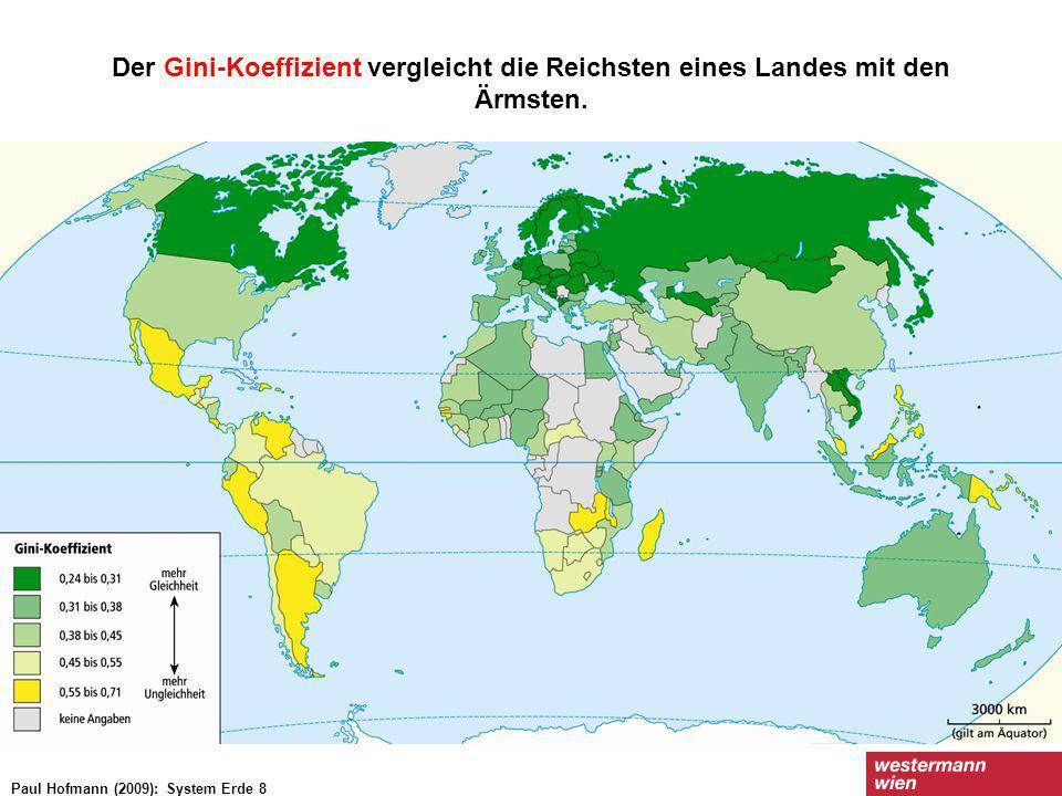 Der Gini-Koeffizient vergleicht die Reichsten eines Landes mit den Ärmsten. Paul Hofmann (2009): System Erde 8