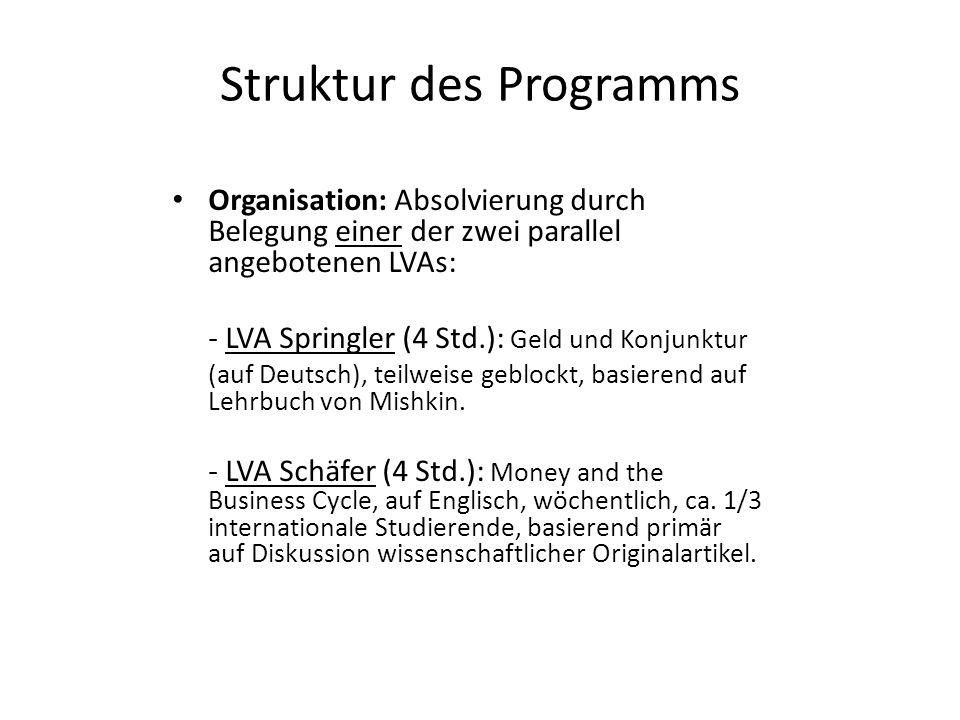 Struktur des Programms Organisation: Absolvierung durch Belegung einer der zwei parallel angebotenen LVAs: - LVA Springler (4 Std.): Geld und Konjunktur (auf Deutsch), teilweise geblockt, basierend auf Lehrbuch von Mishkin.