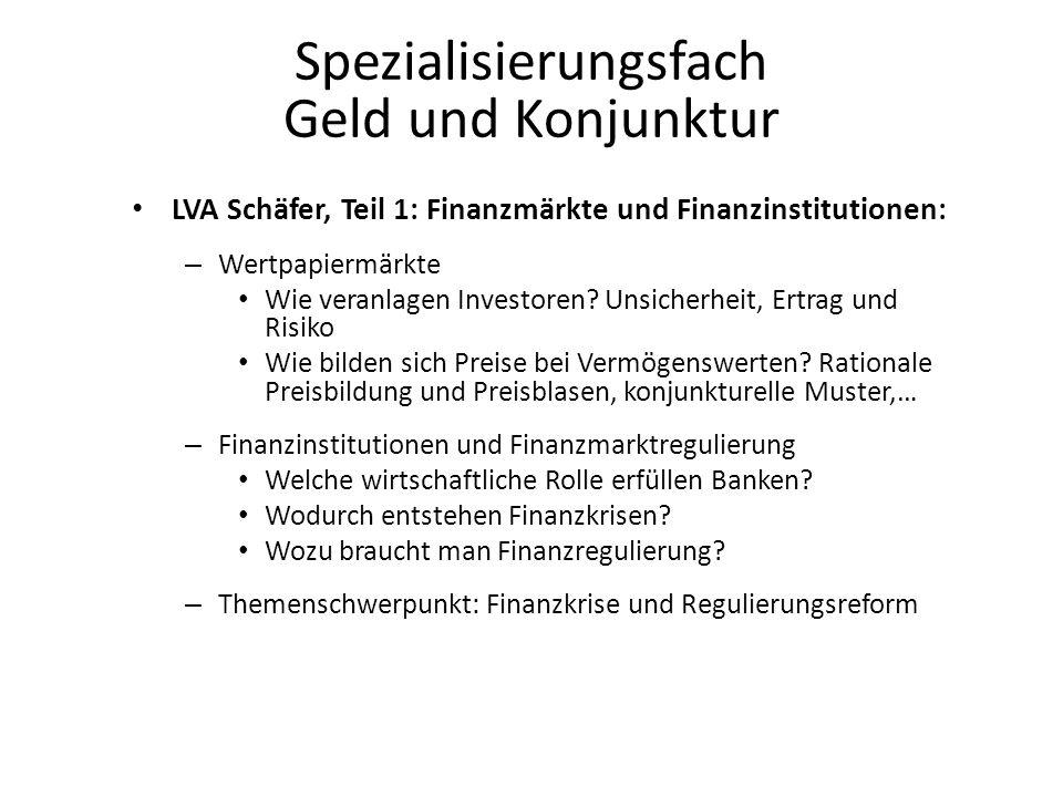 Spezialisierungsfach Geld und Konjunktur LVA Schäfer, Teil 1: Finanzmärkte und Finanzinstitutionen: – Wertpapiermärkte Wie veranlagen Investoren.