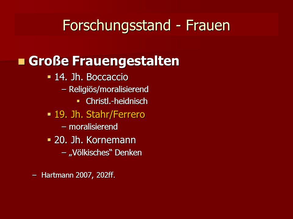 Forschungsstand - Frauen Große Frauengestalten Große Frauengestalten  14.