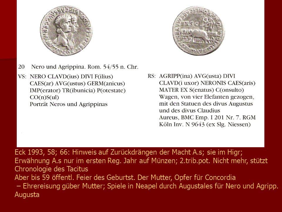 Eck 1993, 58; 66: Hinweis auf Zurückdrängen der Macht A.s; sie im Higr; Erwähnung A.s nur im ersten Reg.