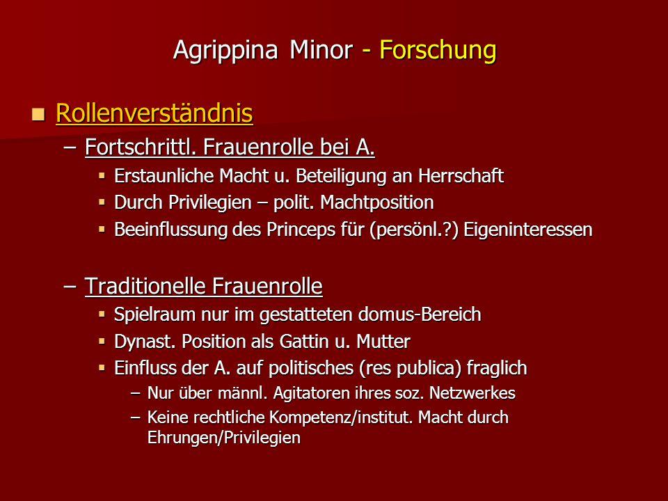 Agrippina Minor - Forschung Rollenverständnis Rollenverständnis –Fortschrittl.