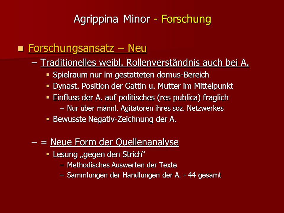 Agrippina Minor - Forschung Forschungsansatz – Neu Forschungsansatz – Neu –Traditionelles weibl.