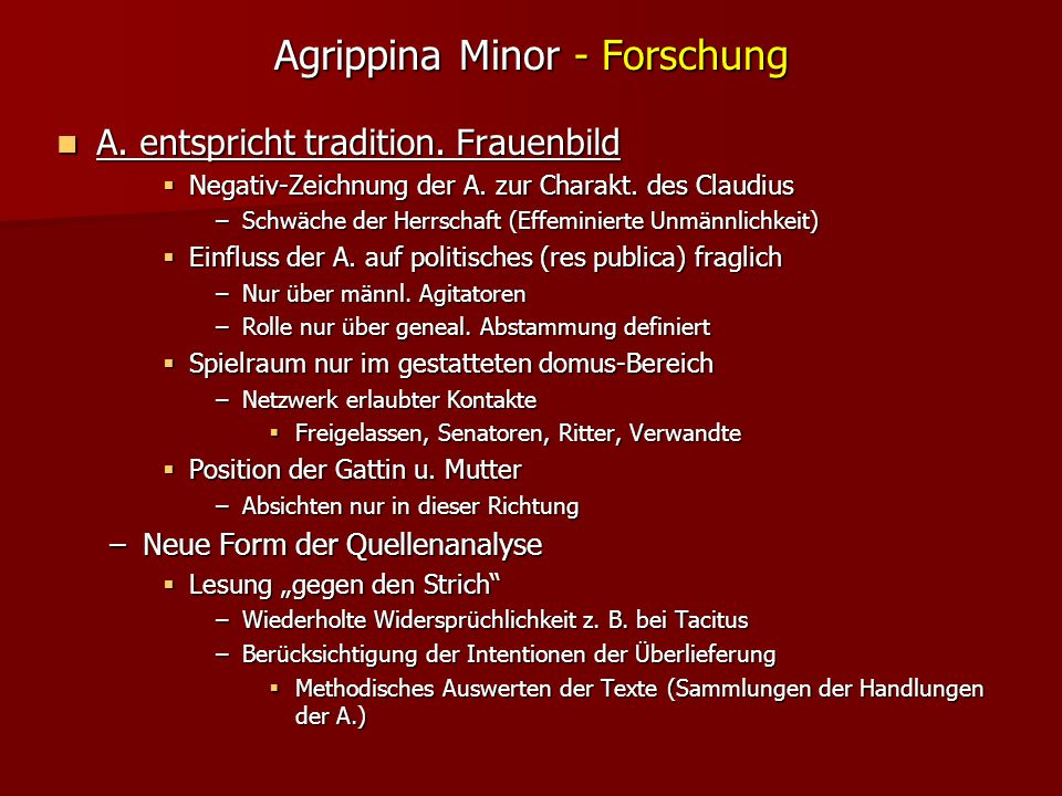 Agrippina Minor - Forschung A.entspricht tradition.