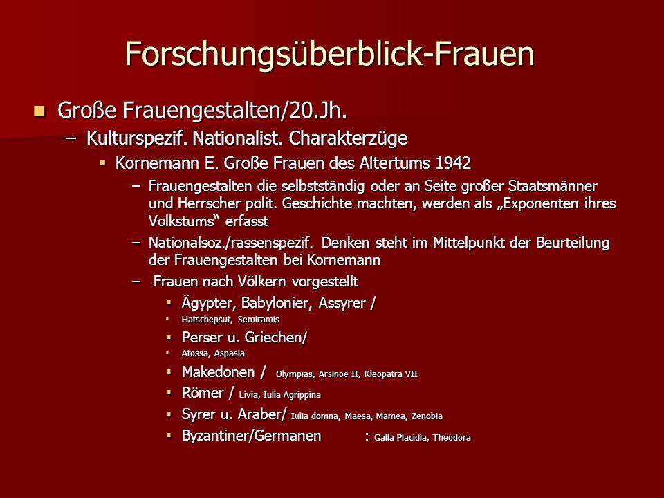 Forschungsüberblick-Frauen Große Frauengestalten/20.Jh.