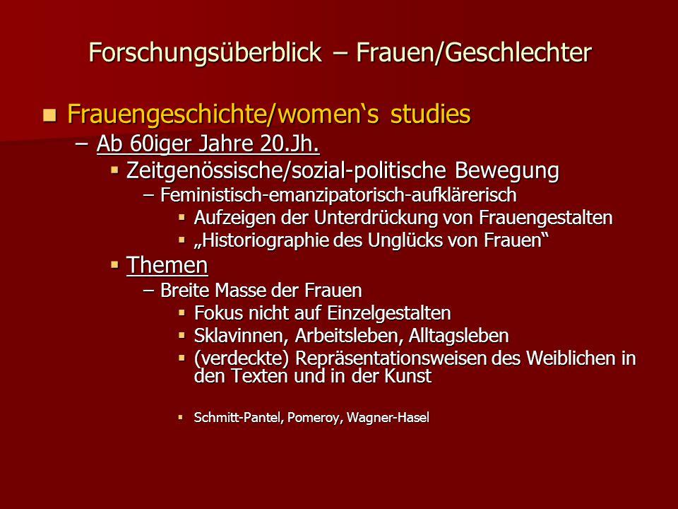 Forschungsüberblick – Frauen/Geschlechter Frauengeschichte/women's studies Frauengeschichte/women's studies –Ab 60iger Jahre 20.Jh.