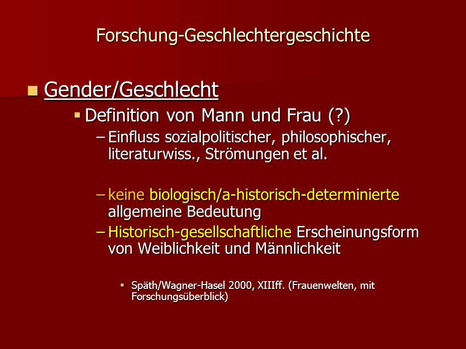 Forschung-Geschlechtergeschichte Gender/Geschlecht Gender/Geschlecht  Definition von Mann und Frau (?) –Einfluss sozialpolitischer, philosophischer, literaturwiss., Strömungen et al.